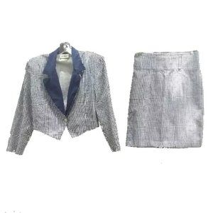 A. Byer Blue & White 2 PC Skirt Suit 11